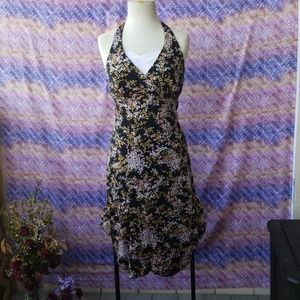 Floral Halter Dress W/ Asymmetrical Cut
